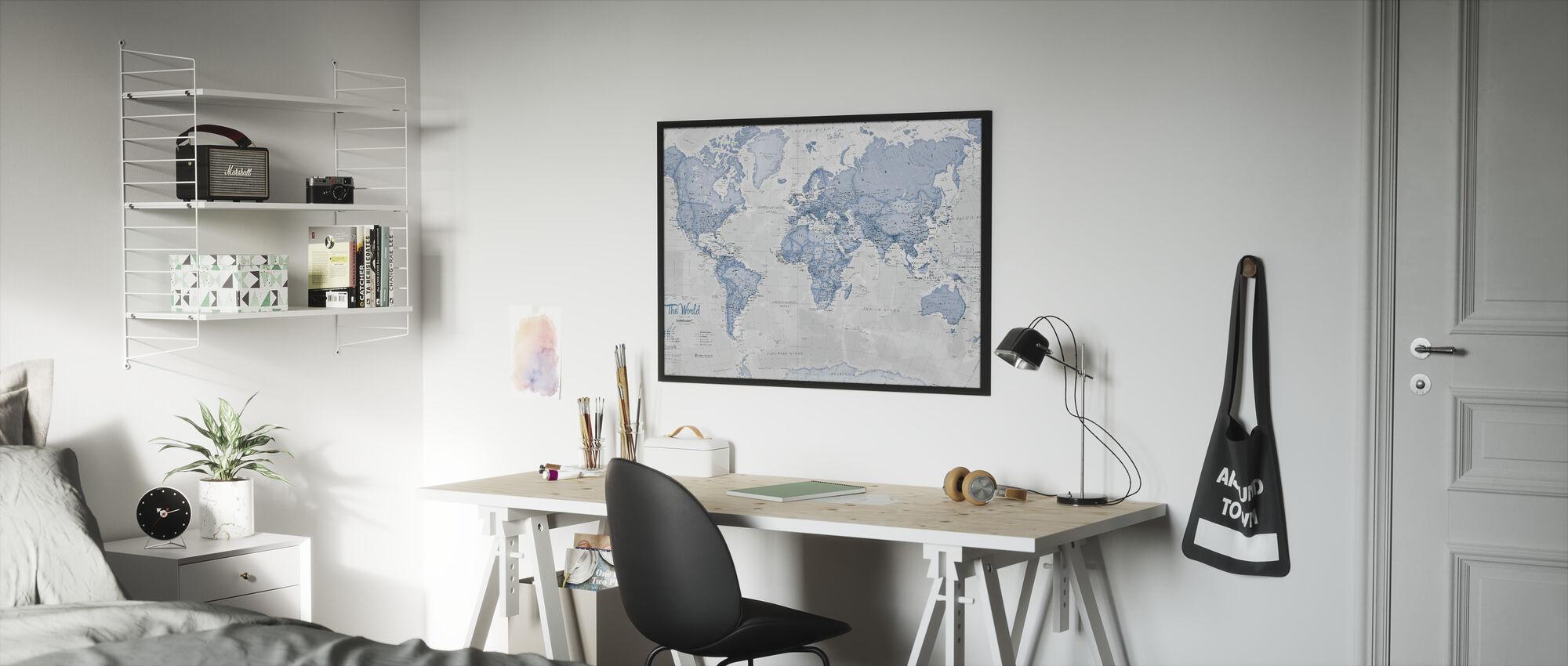 World Map Political Blue - Framed print - Kids Room