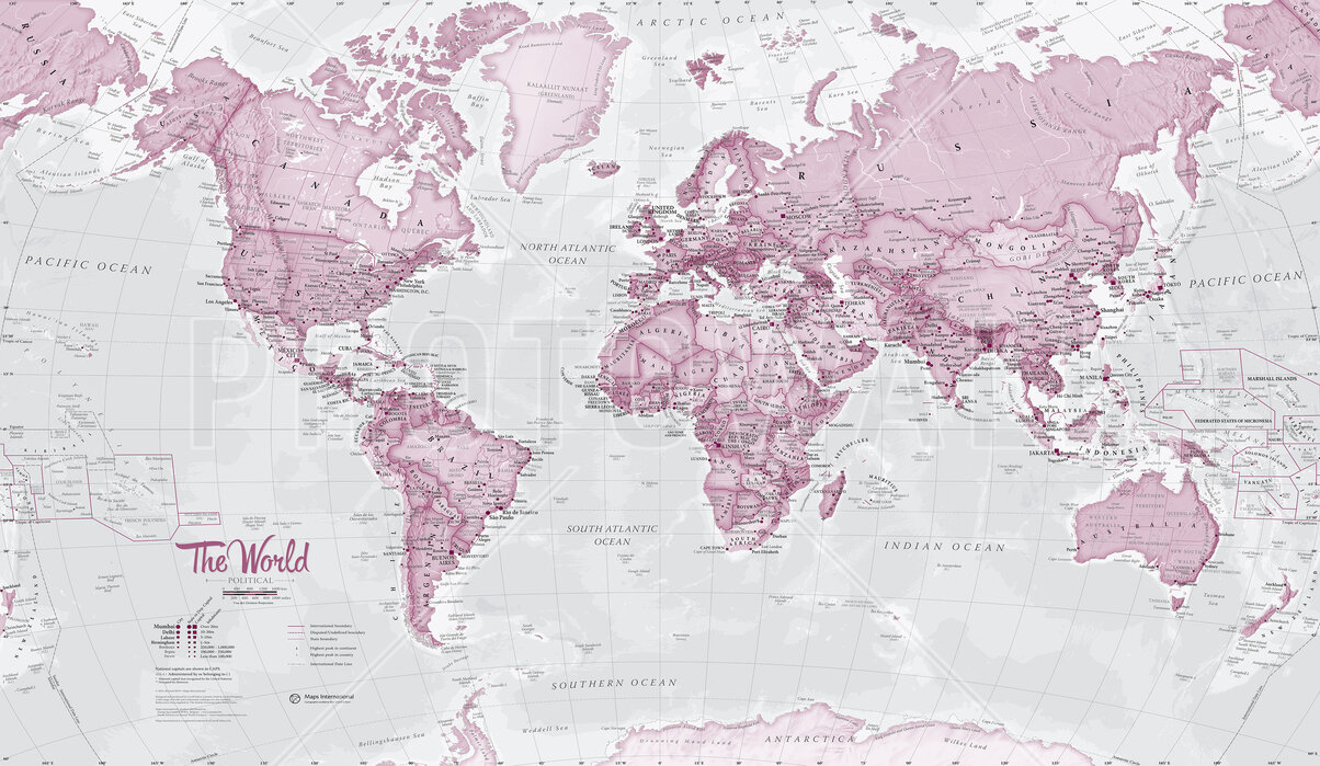 World Map Political Pink – high-quality wall murals with ...