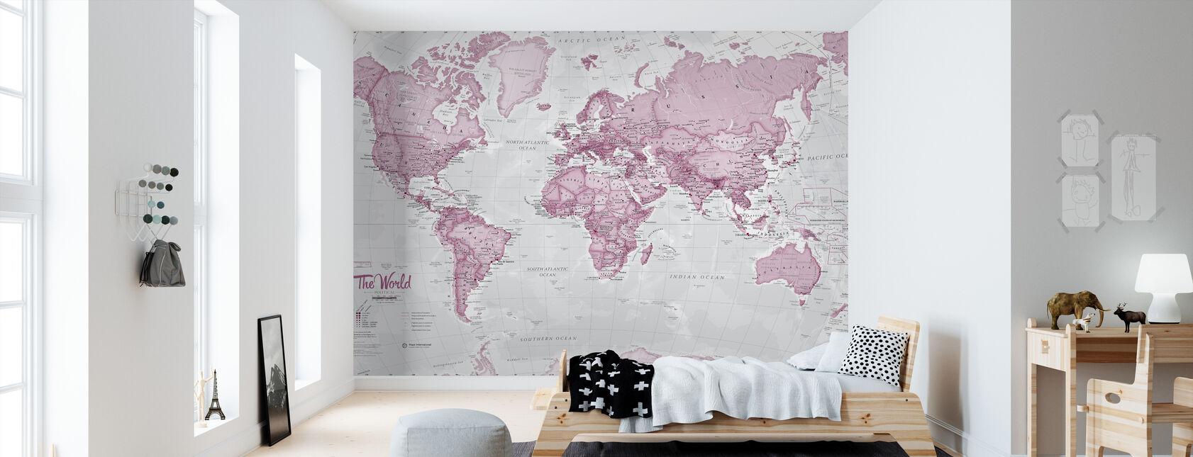 Maailmankartta Poliittinen vaaleanpunainen - Tapetti - Lastenhuone