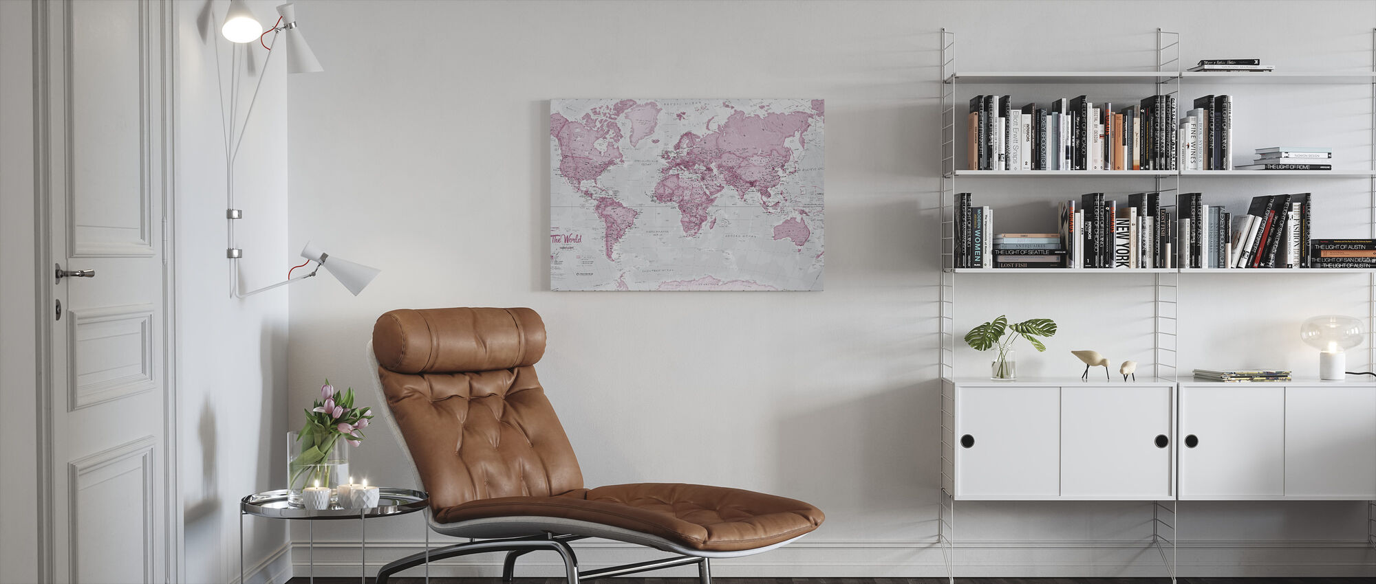 World Map Political Pink - Canvas print - Living Room