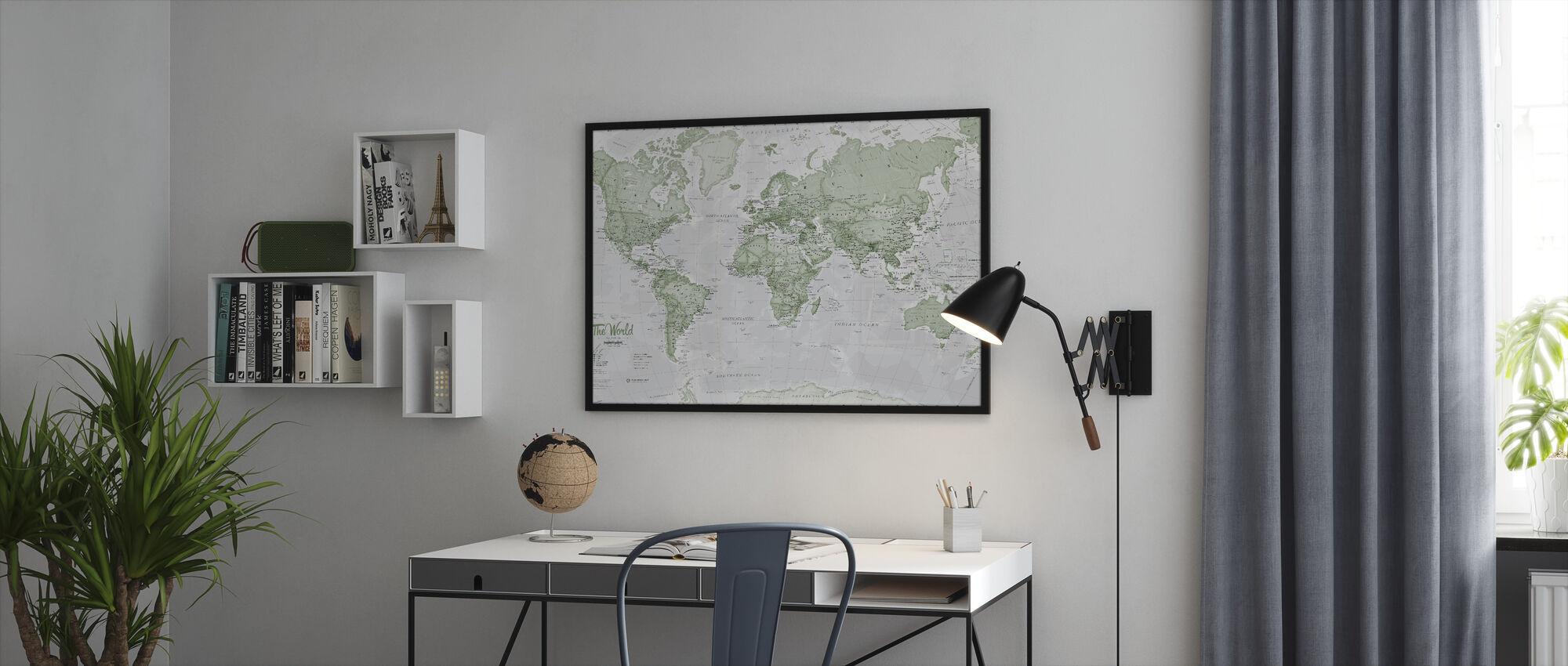 World Map Political Green - Framed print - Office