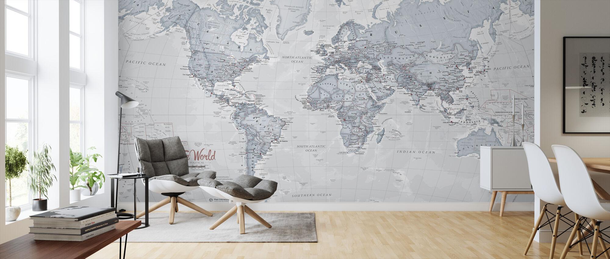 World Map Political Teal - Wallpaper - Living Room