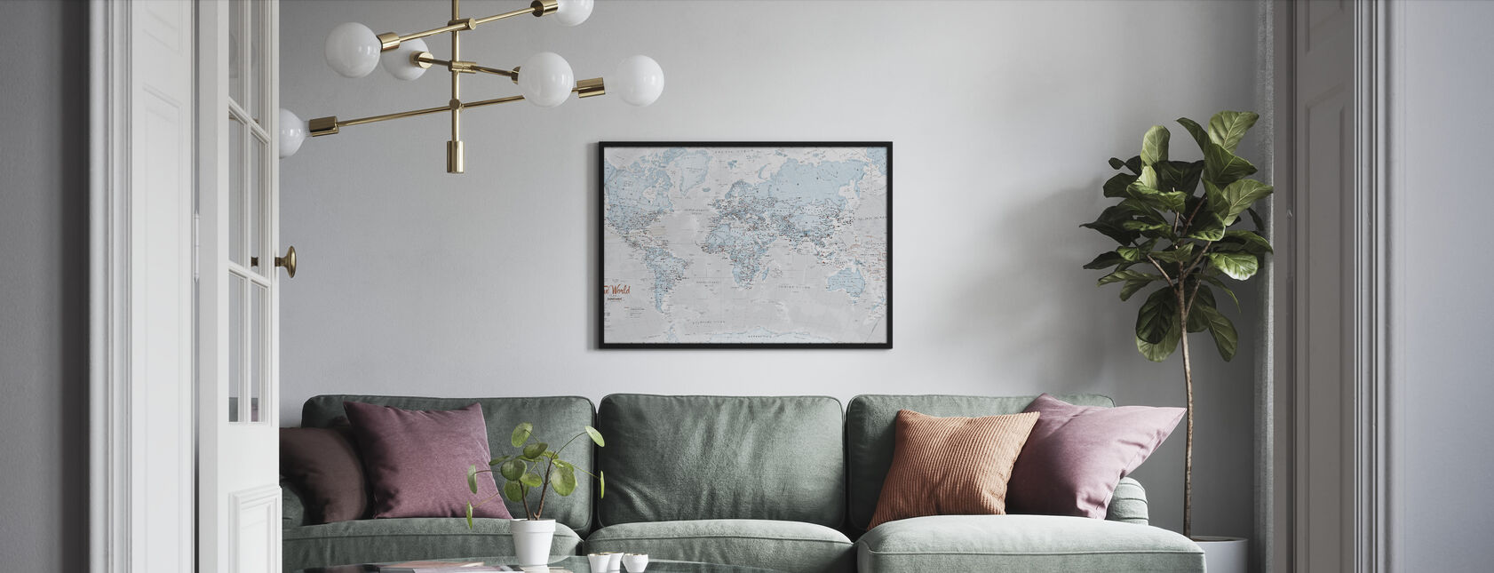 World Map Political Aqua - Framed print - Living Room