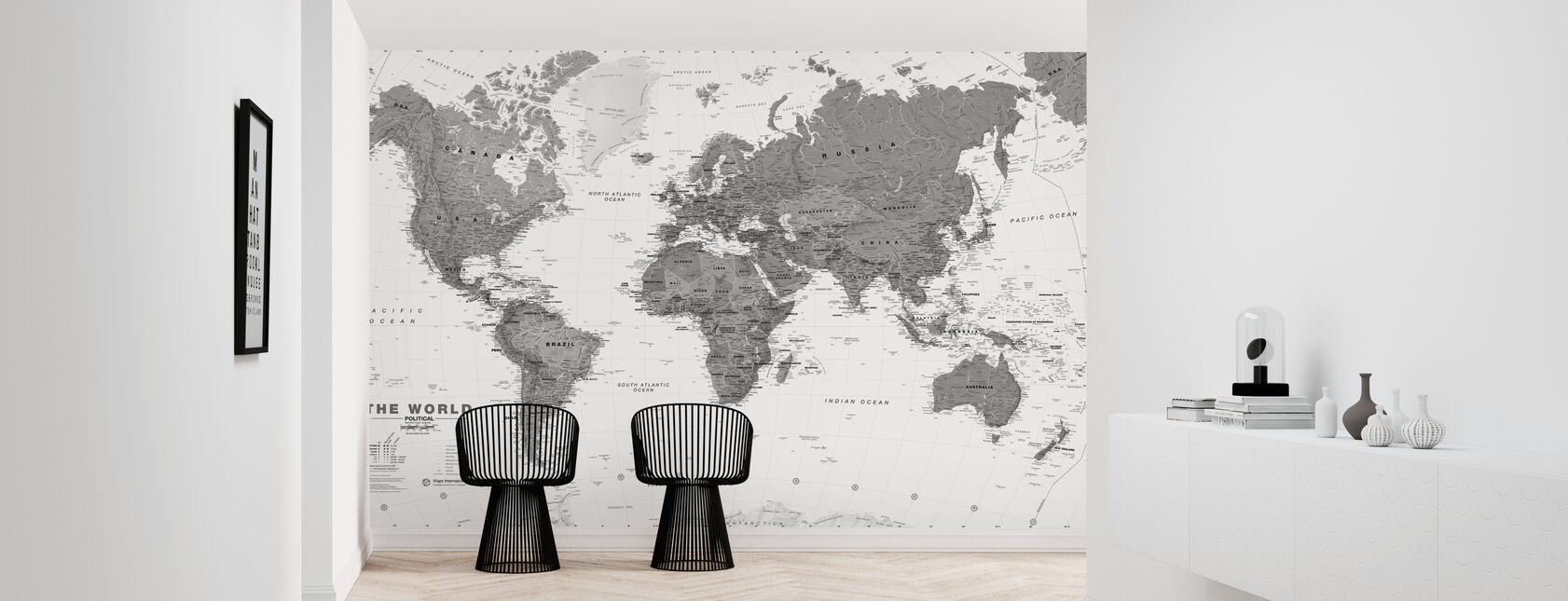 World Map Bw - Wallpaper - Hallway