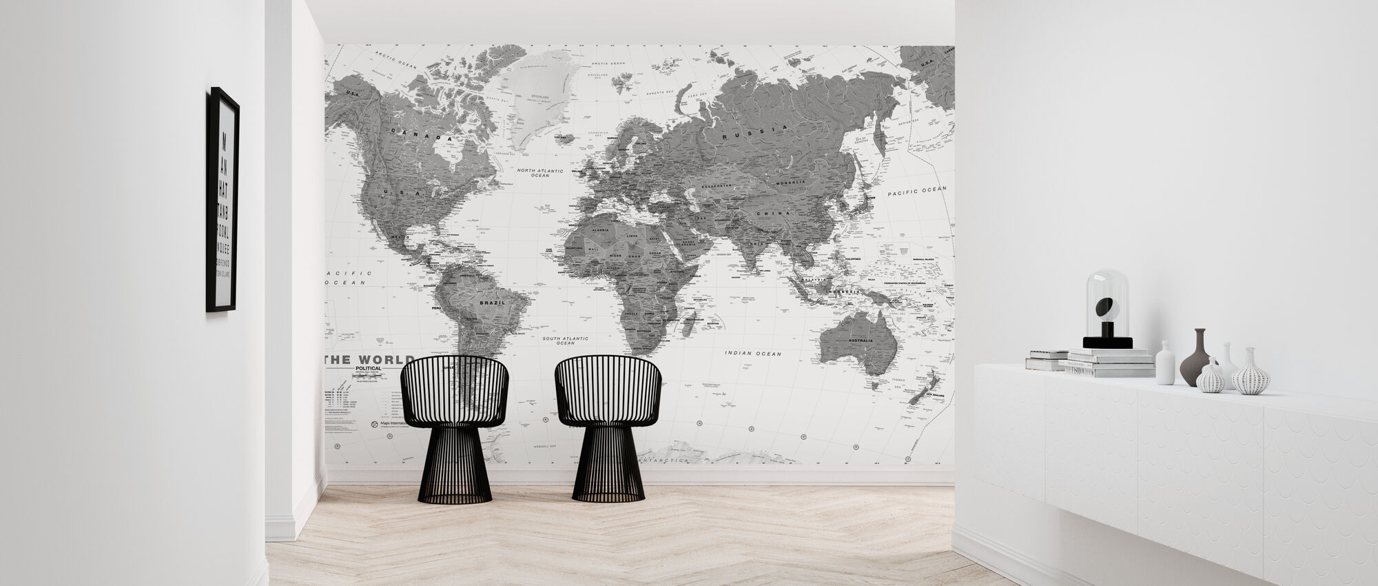 World Map Bw - Wallpaper - Hallway