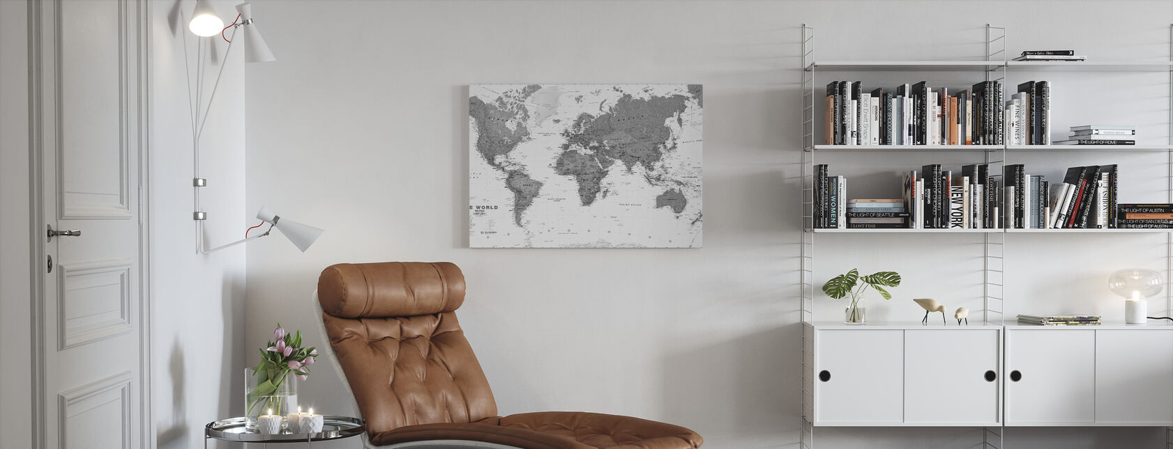 World Map Bw - Canvas print - Living Room