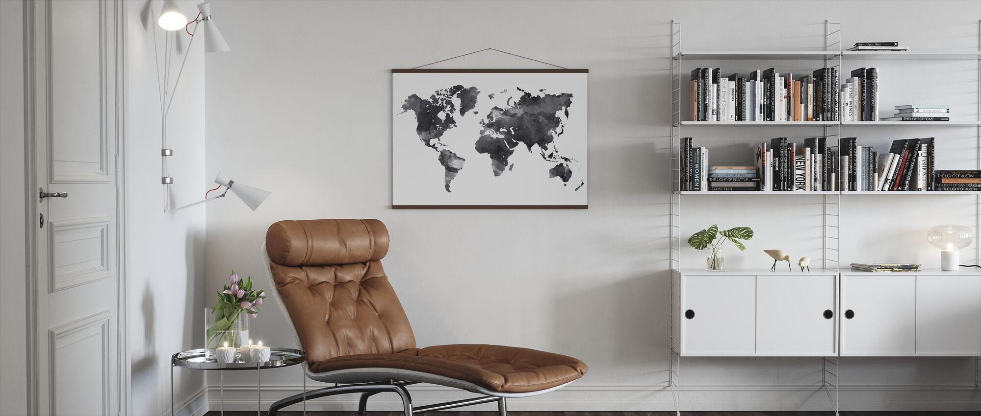 Black Ink Map - Poster - Living Room