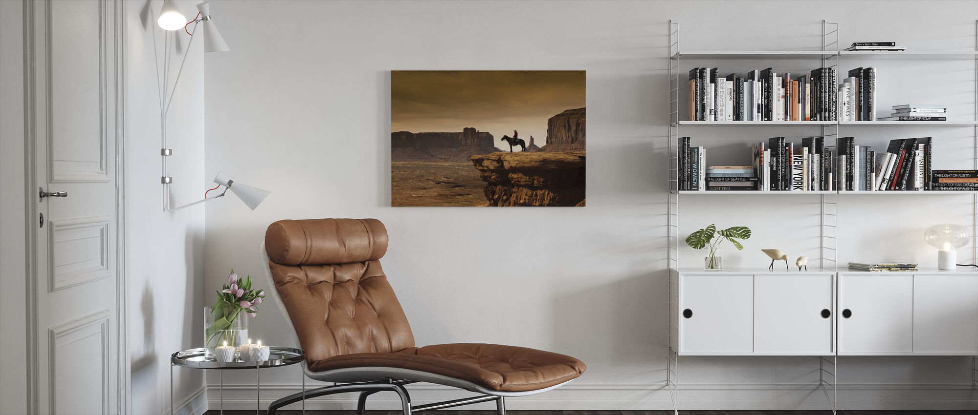 Cowboy in Valley Tribal - Canvas print - Living Room