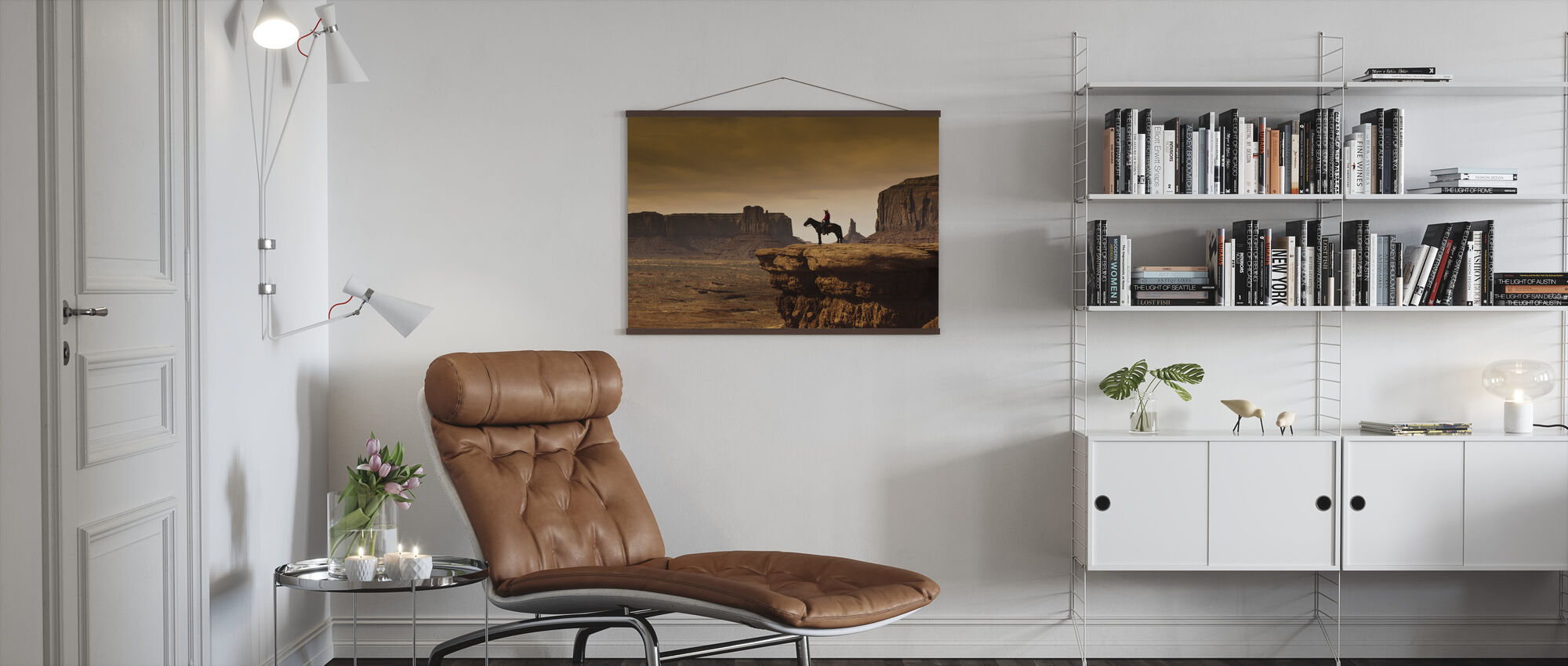 Cowboy in Valley Tribal - Poster - Living Room
