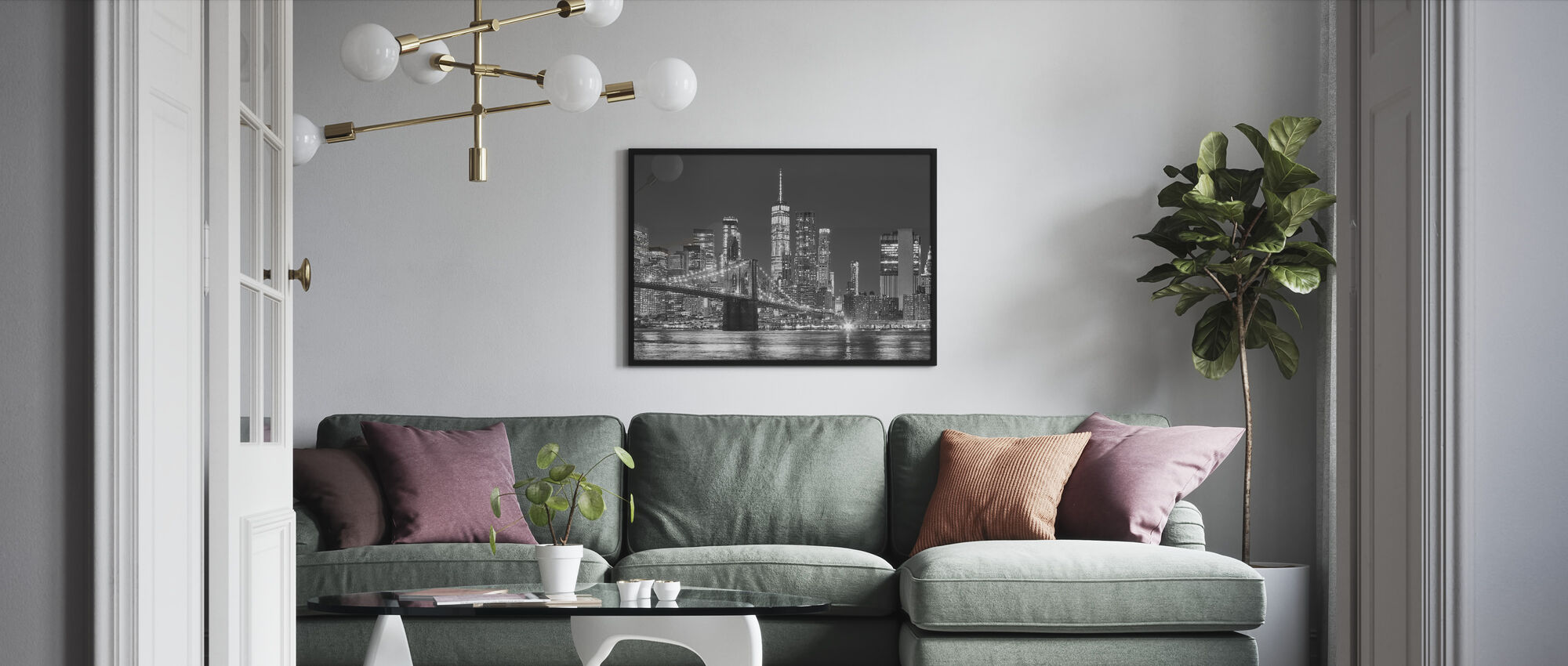 Manhattan Skyline at Night - Framed print - Living Room