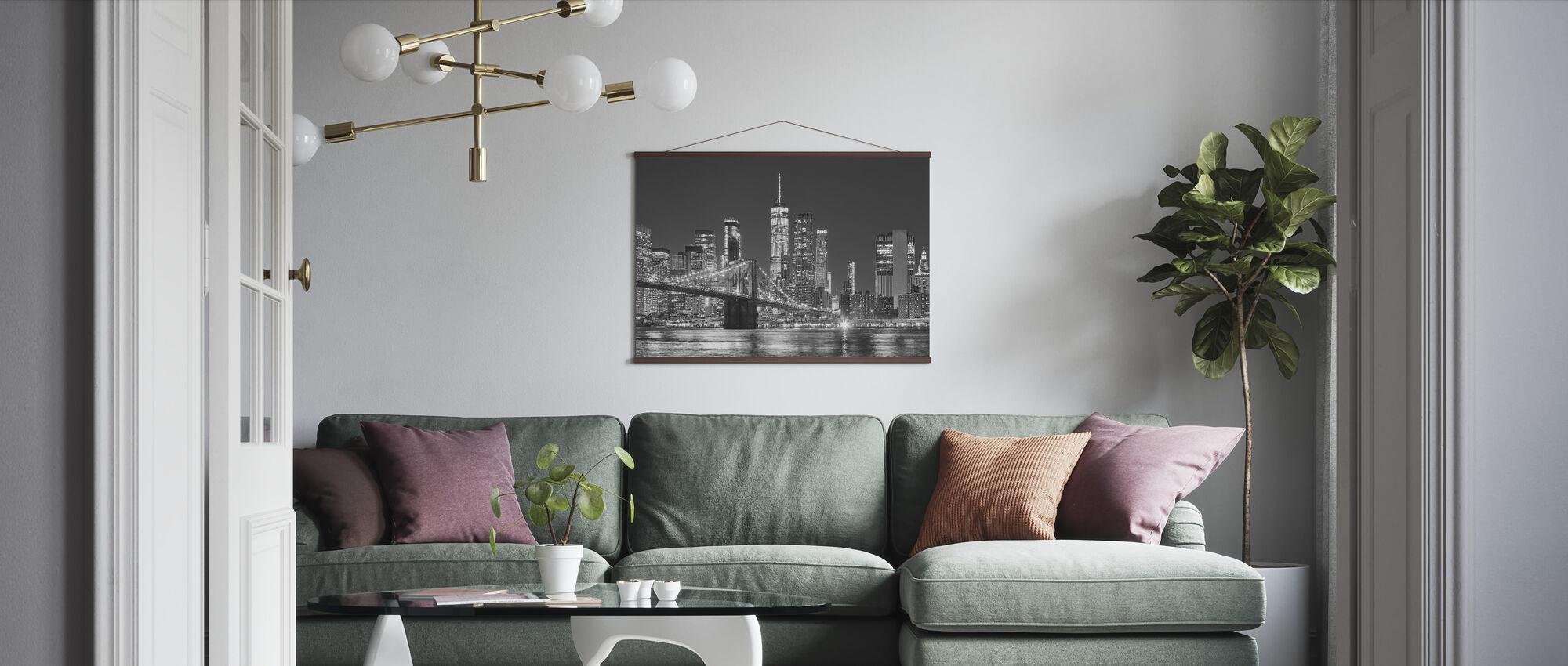 Manhattan Skyline at Night - Poster - Living Room