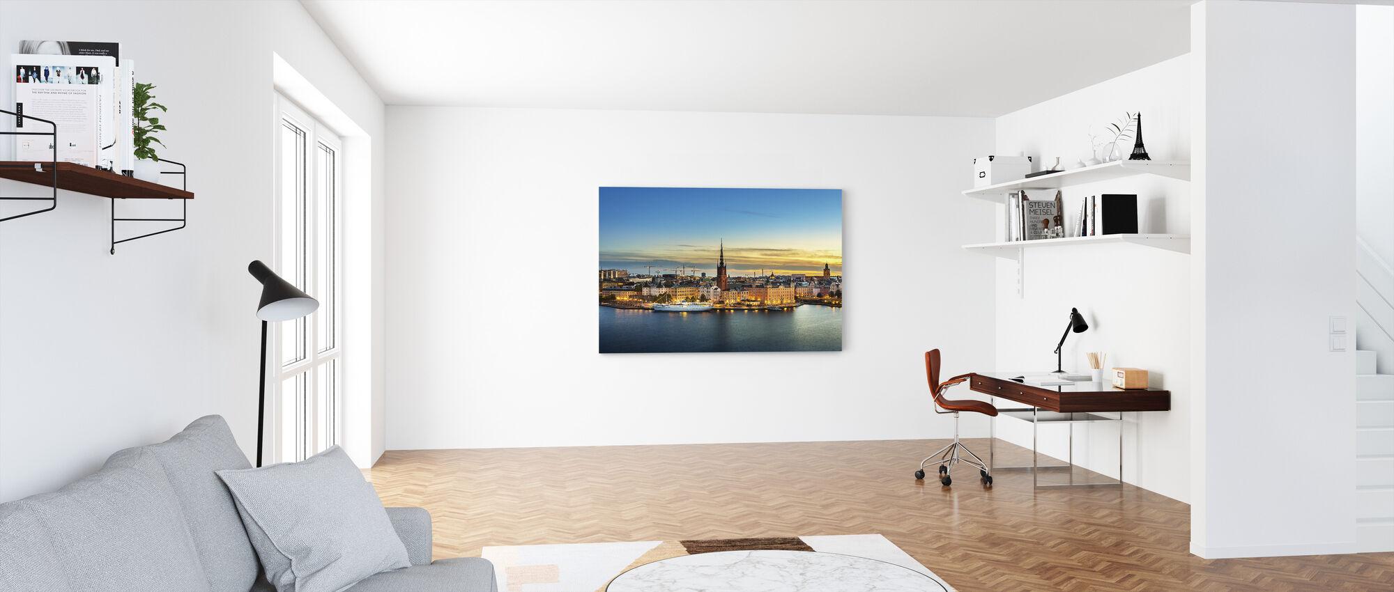 Sunset over Riddarholmen Stockholm - Canvas print - Office