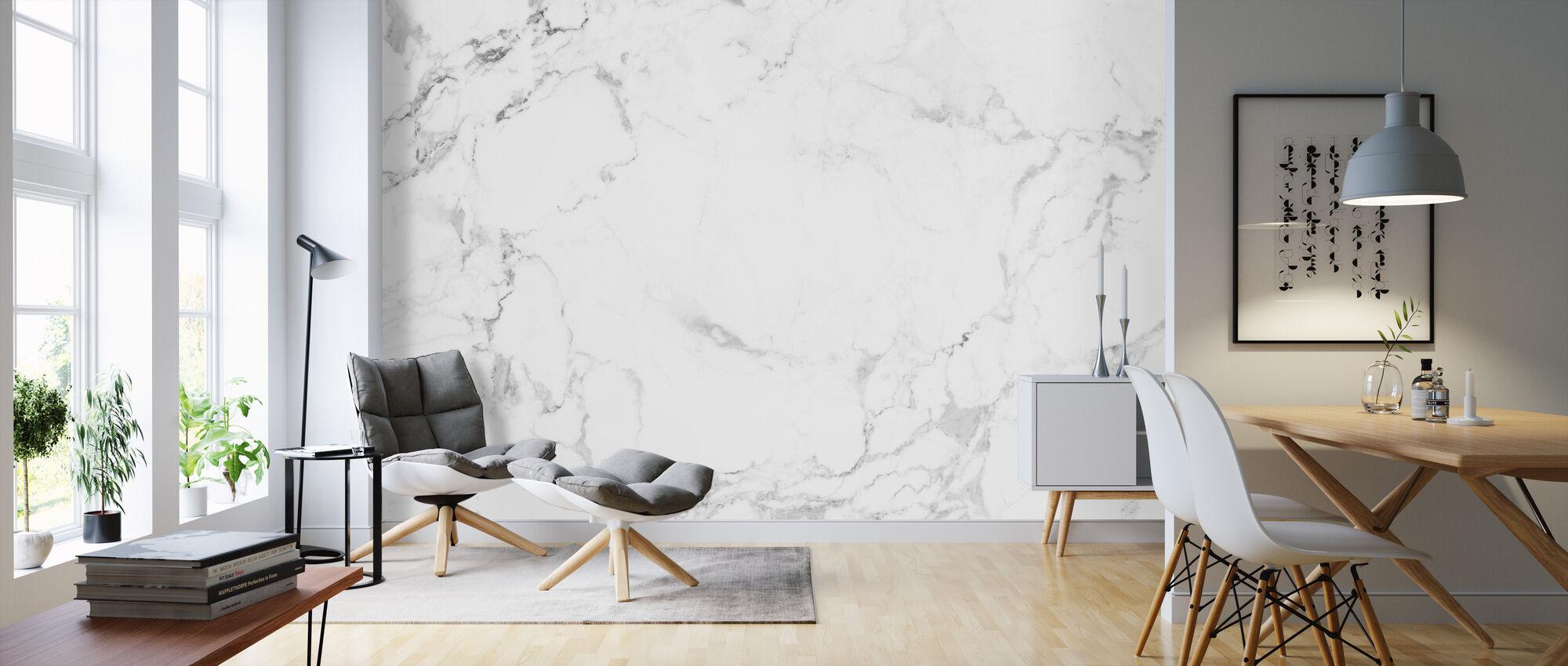 Weißer Marmor - Tapete - Wohnzimmer