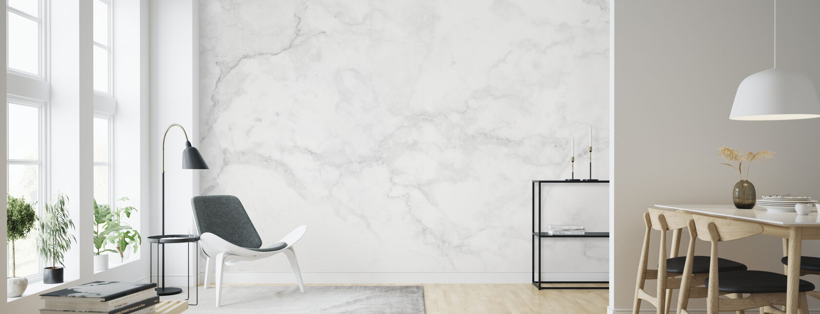 White Marble - Wallpaper - Living Room