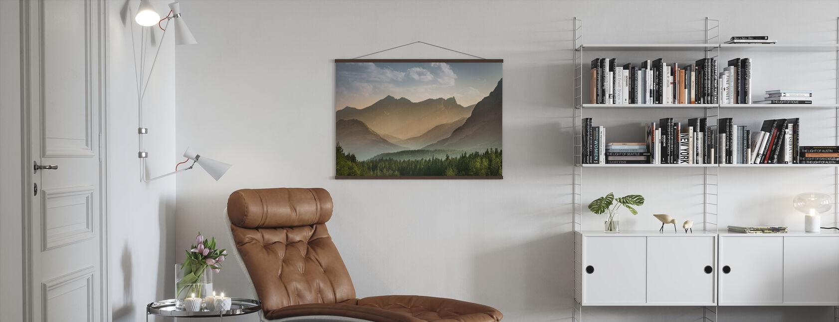 Mist Forest in Banff - Poster - Woonkamer