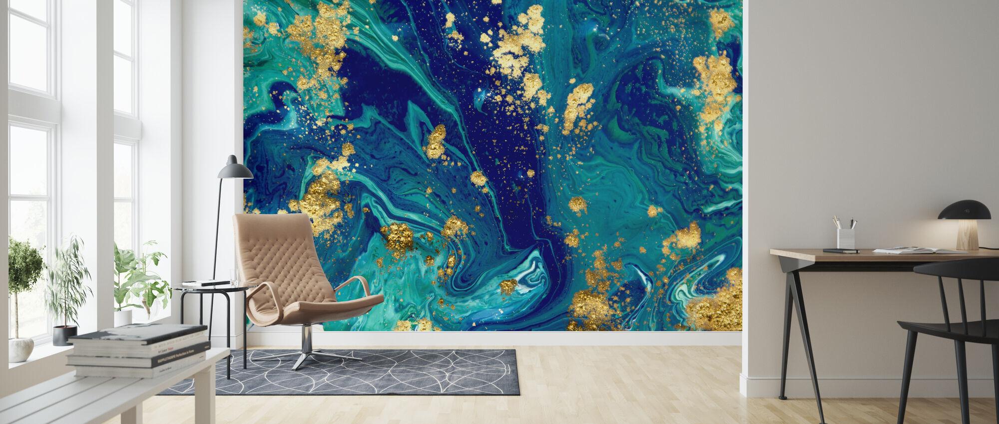 Blue Liquid Marble - Wallpaper - Living Room