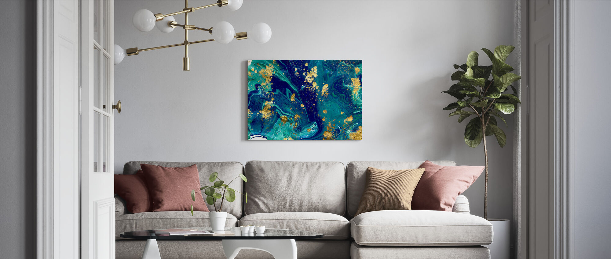 Blue Liquid Marble - Canvas print - Living Room