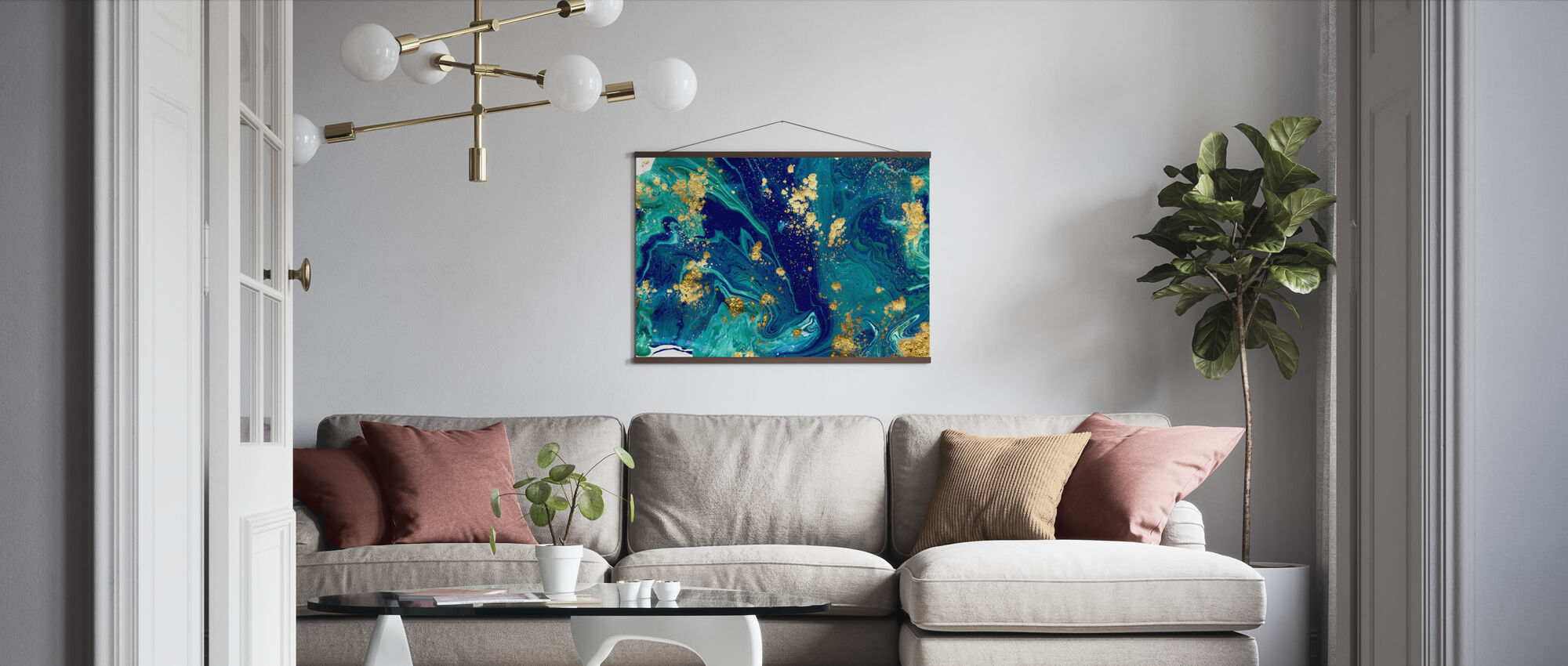 Blue Liquid Marble - Poster - Living Room