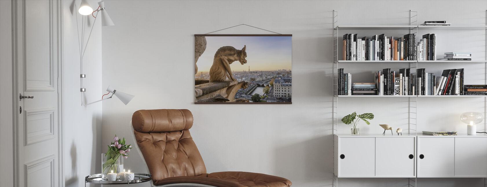 Gargoyle and City of Paris - Poster - Living Room