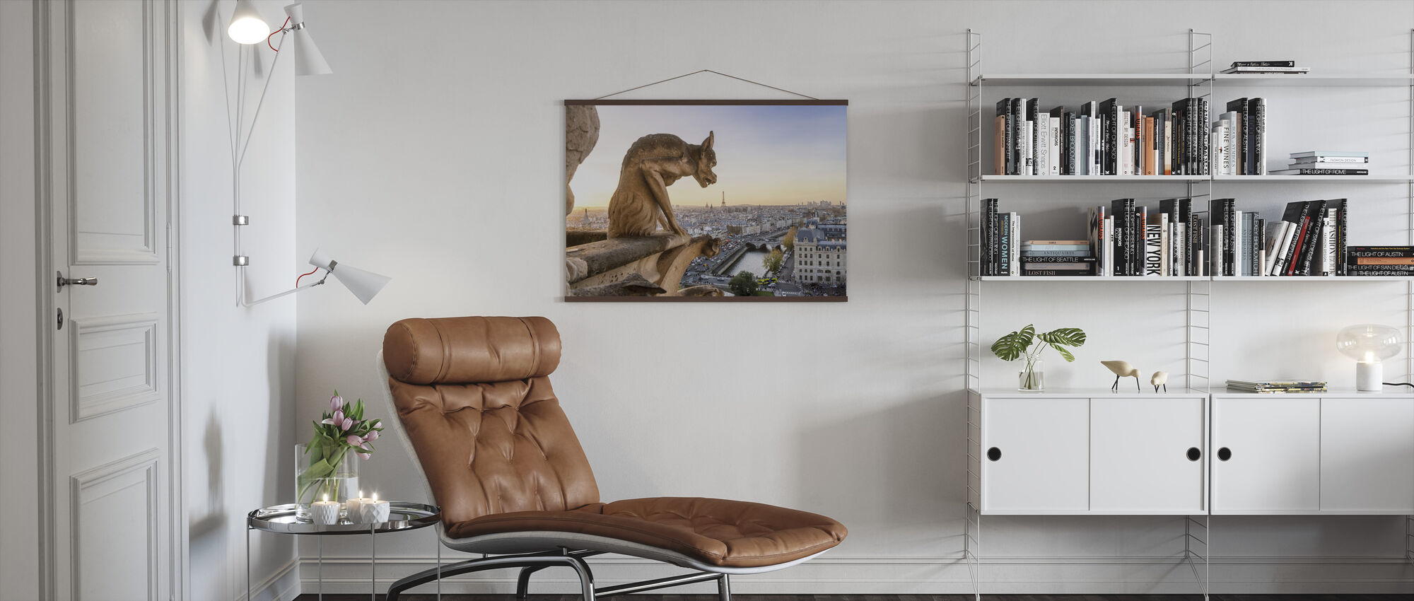 Gargoyle and City of Paris - Poster - Living Room