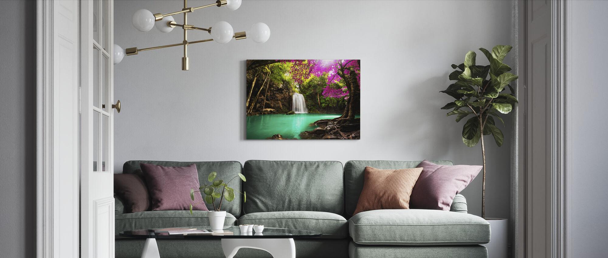 Waterval in Herfstbos - Canvas print - Woonkamer