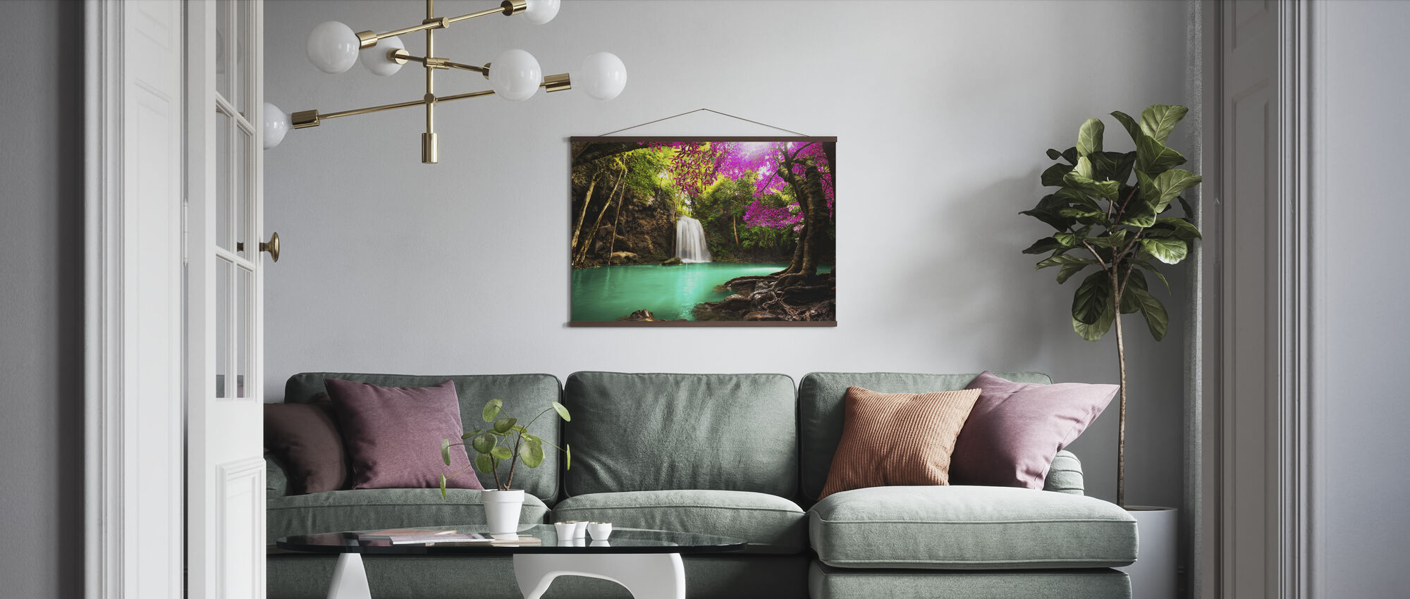 Waterfall in Autumn Forest - Poster - Living Room