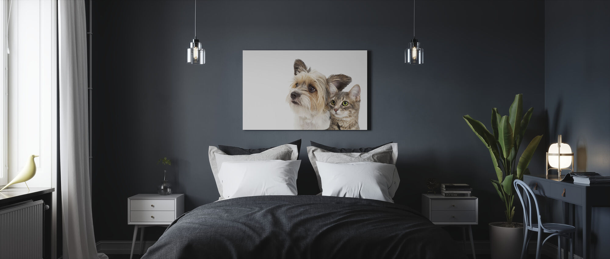 Cat and Dog - Canvas print - Bedroom