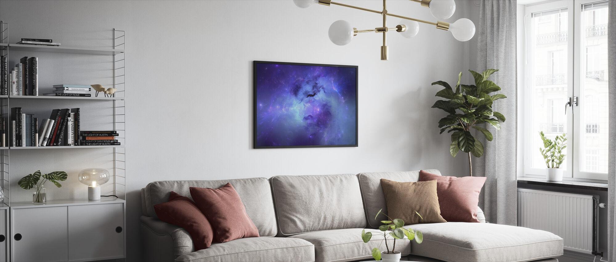 Blå Nebula - Innrammet bilde - Stue