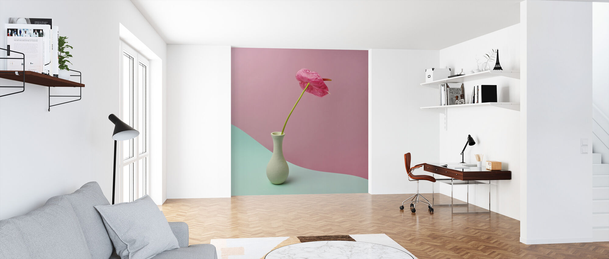 Anthurium in White Vase - Wallpaper - Office