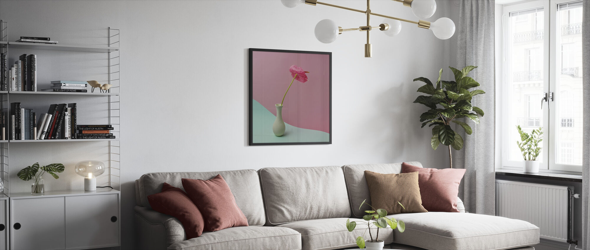 Anthurium in White Vase - Framed print - Living Room