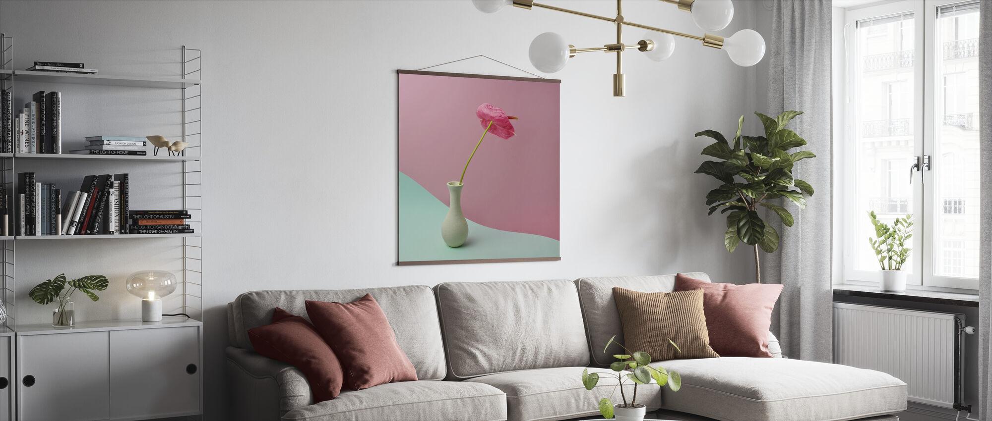 Anthurium in White Vase - Poster - Living Room