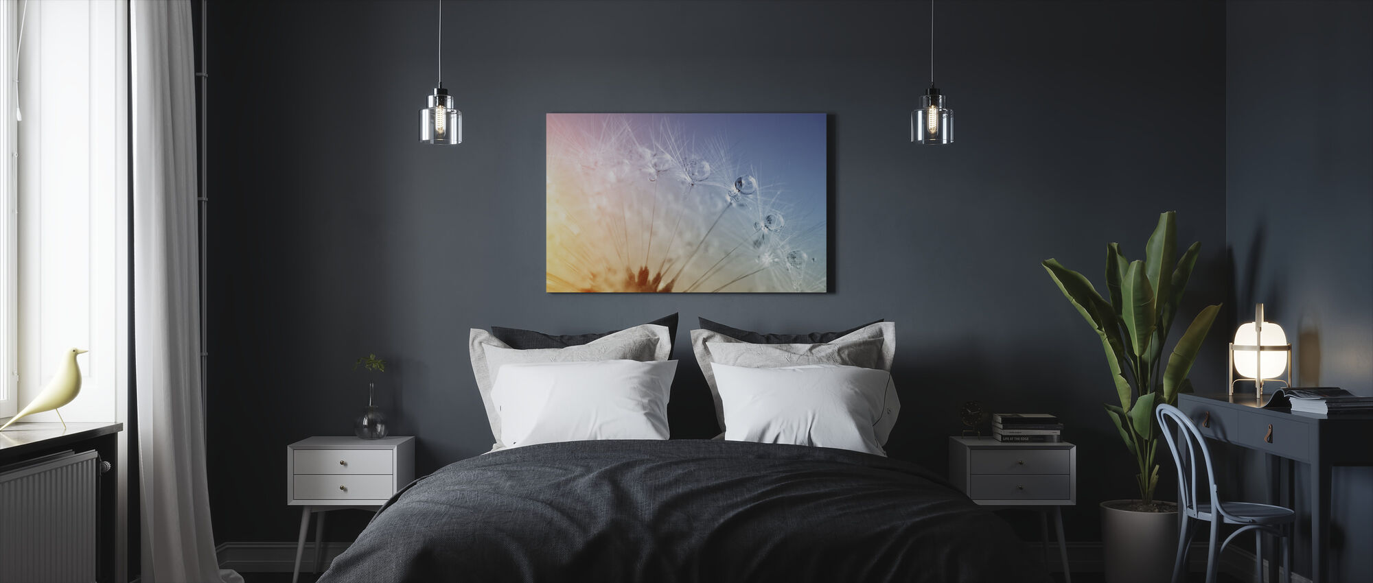 Drops on Dandelion Seed - Canvas print - Bedroom