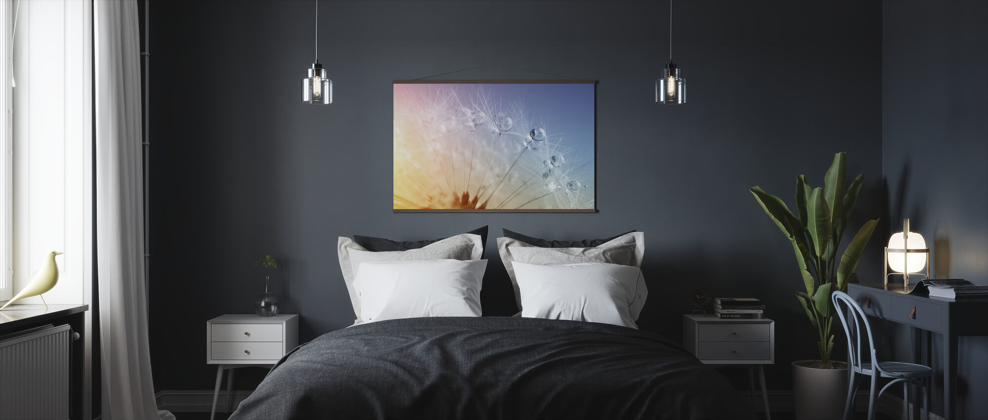Drops on Dandelion Seed - Poster - Bedroom