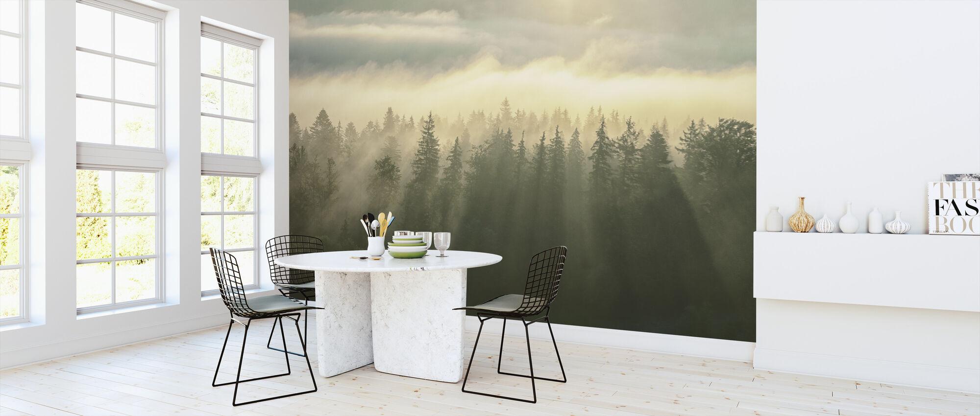 Beboste Mountans mist - Behang - Keuken