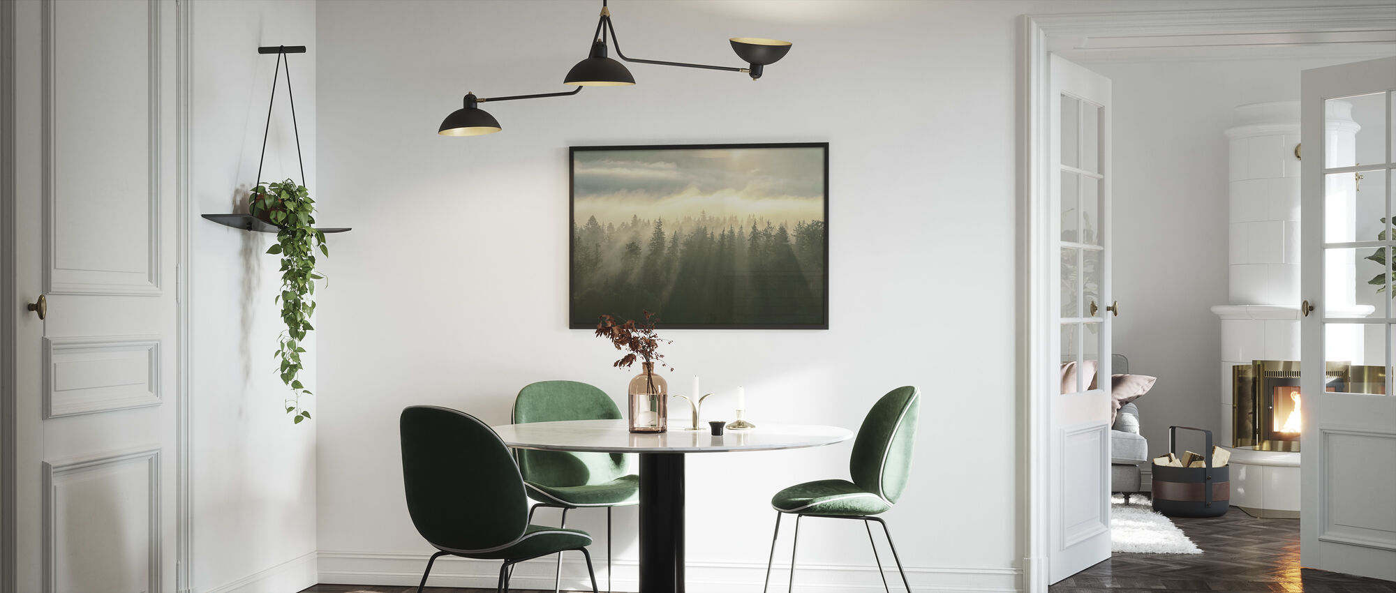 Metsäinen Mountans sumu - Kehystetty kuva - Keittiö