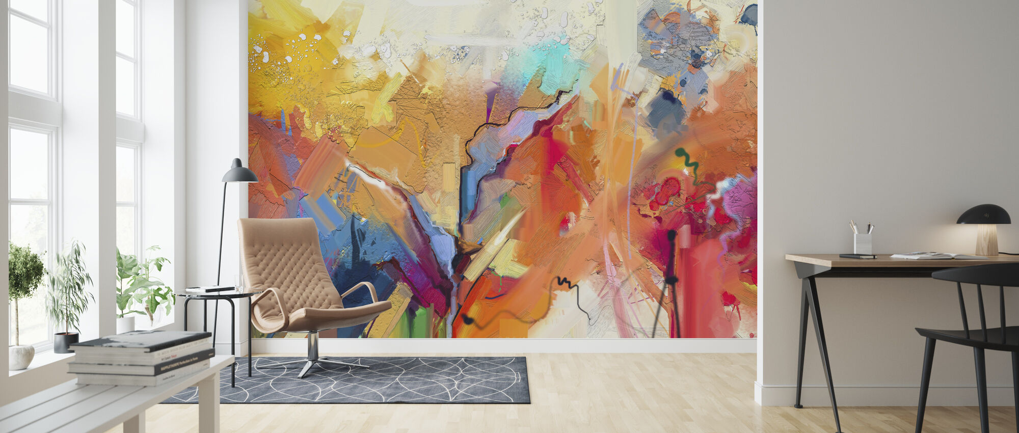 Colorful Abstract Painting - Wallpaper - Living Room