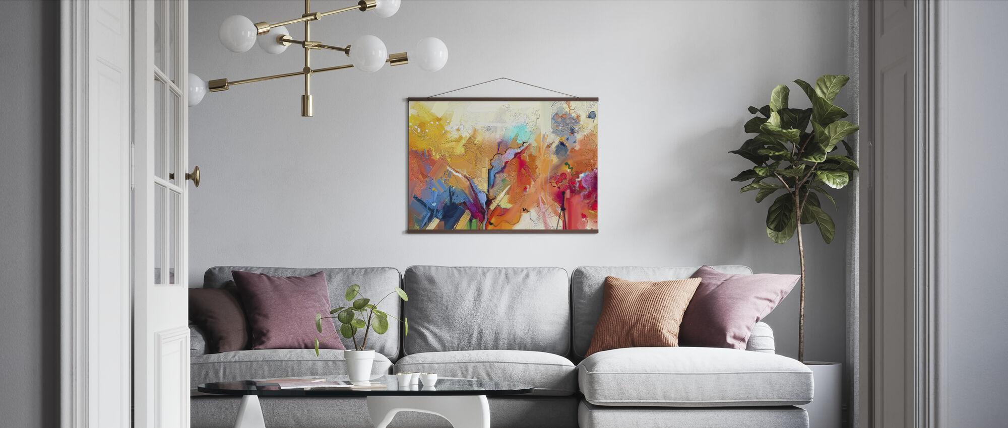 Kleurrijk Abstract Schilderij - Poster - Woonkamer