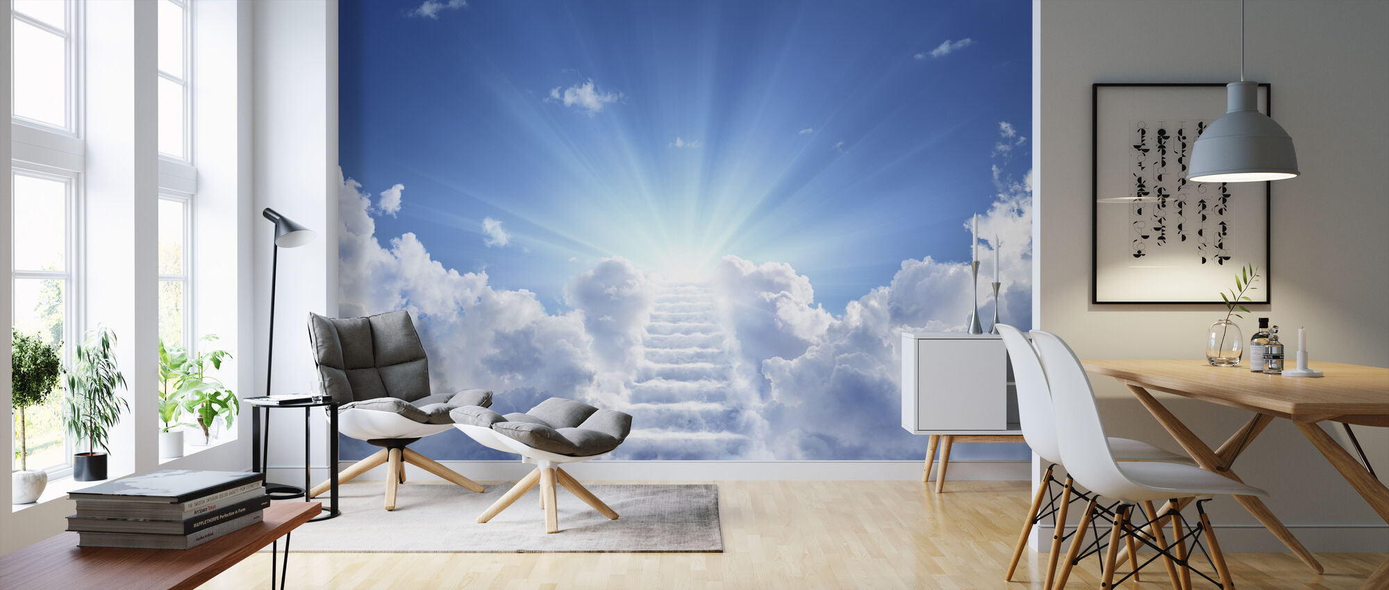 Cloudy Stairs - Wallpaper - Living Room