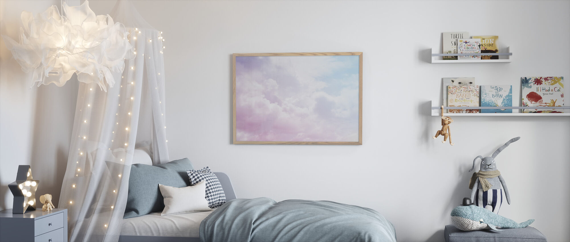 Pilvinen taivas - Kehystetty kuva - Lastenhuone