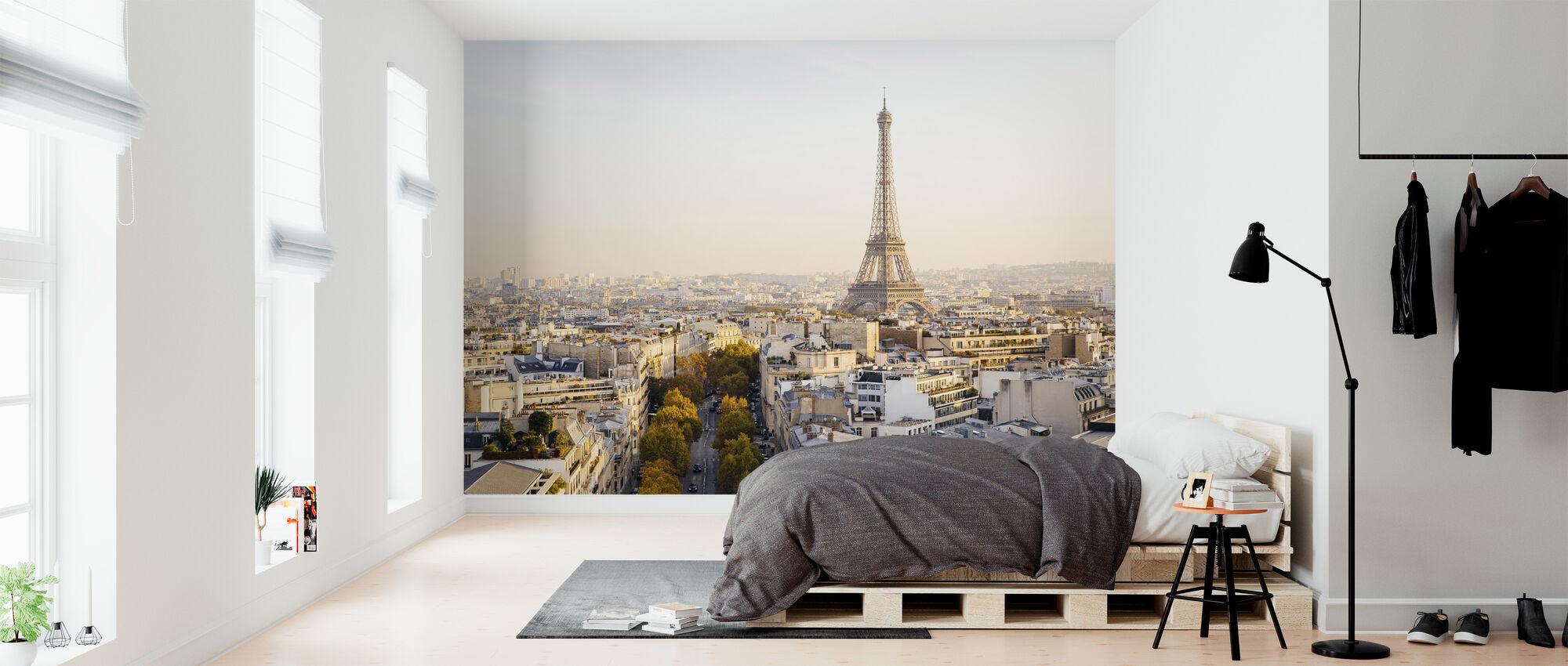 Eiffel-torni ja Pariisin horisonttiin - Tapetti - Makuuhuone
