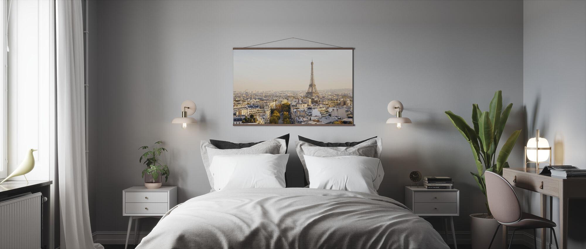 Eiffel-torni ja Pariisin horisonttiin - Juliste - Makuuhuone