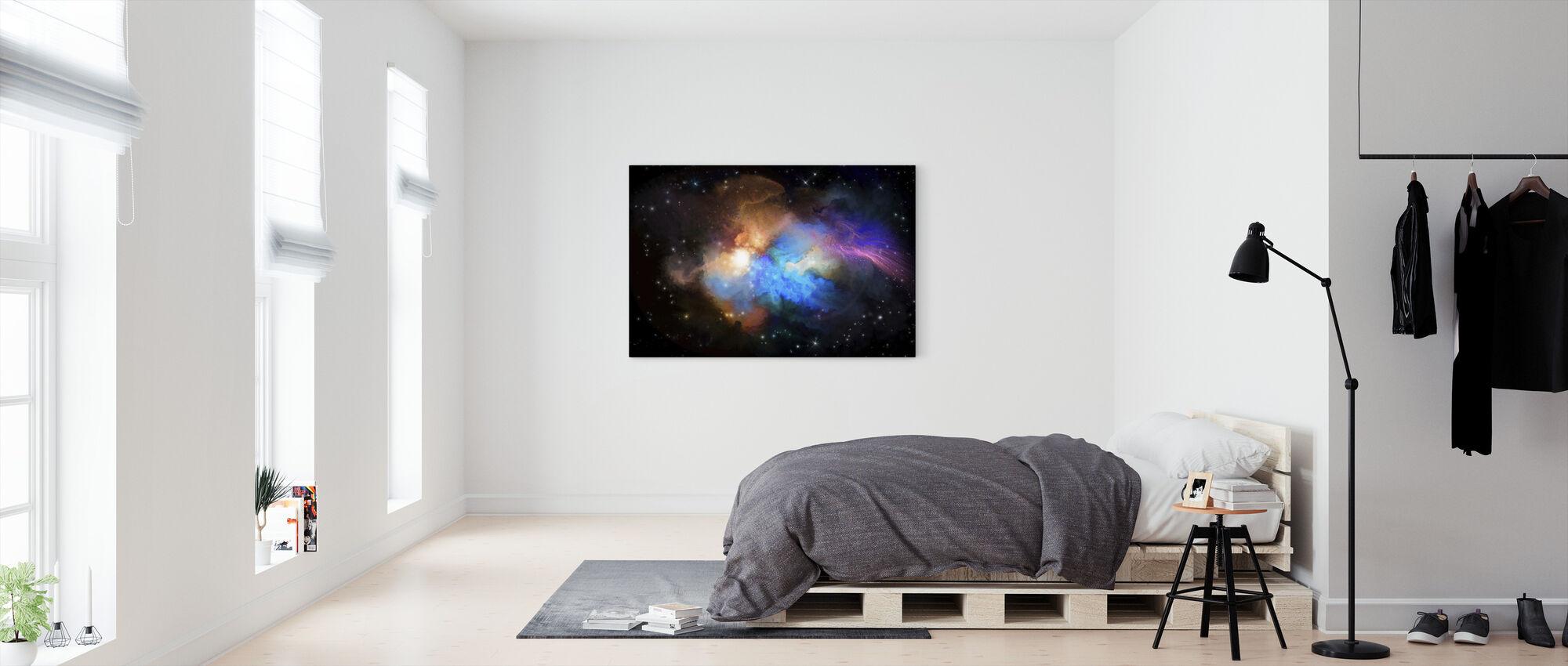 Flerfarvet tåge - Billede på lærred - Soveværelse
