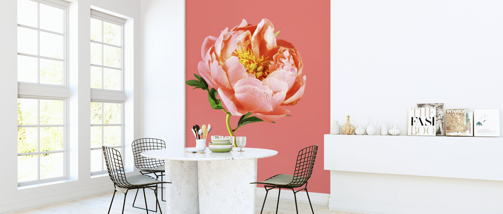 Peony on Coral - Wallpaper - Kitchen