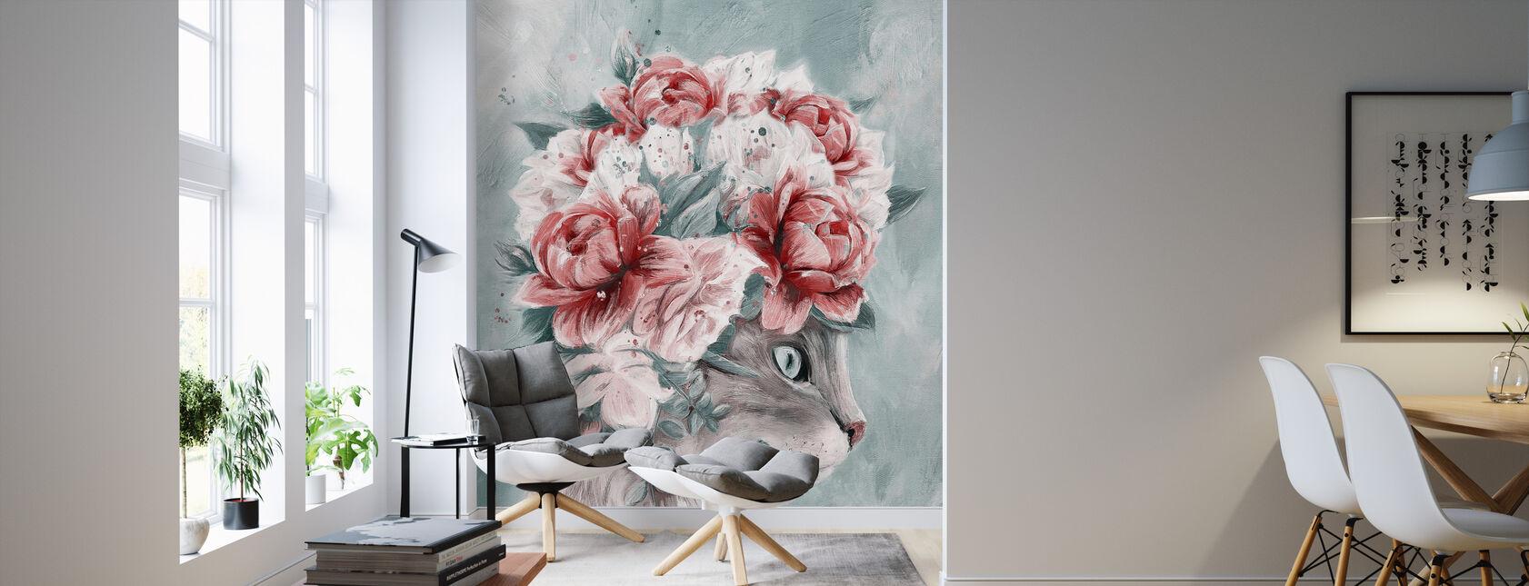 Bouquet Cat - Wallpaper - Living Room