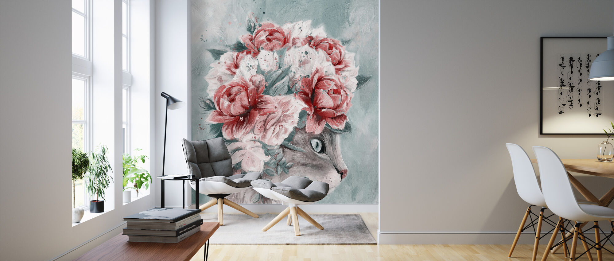 Bouquet Cat - Wallpaper - Living Room