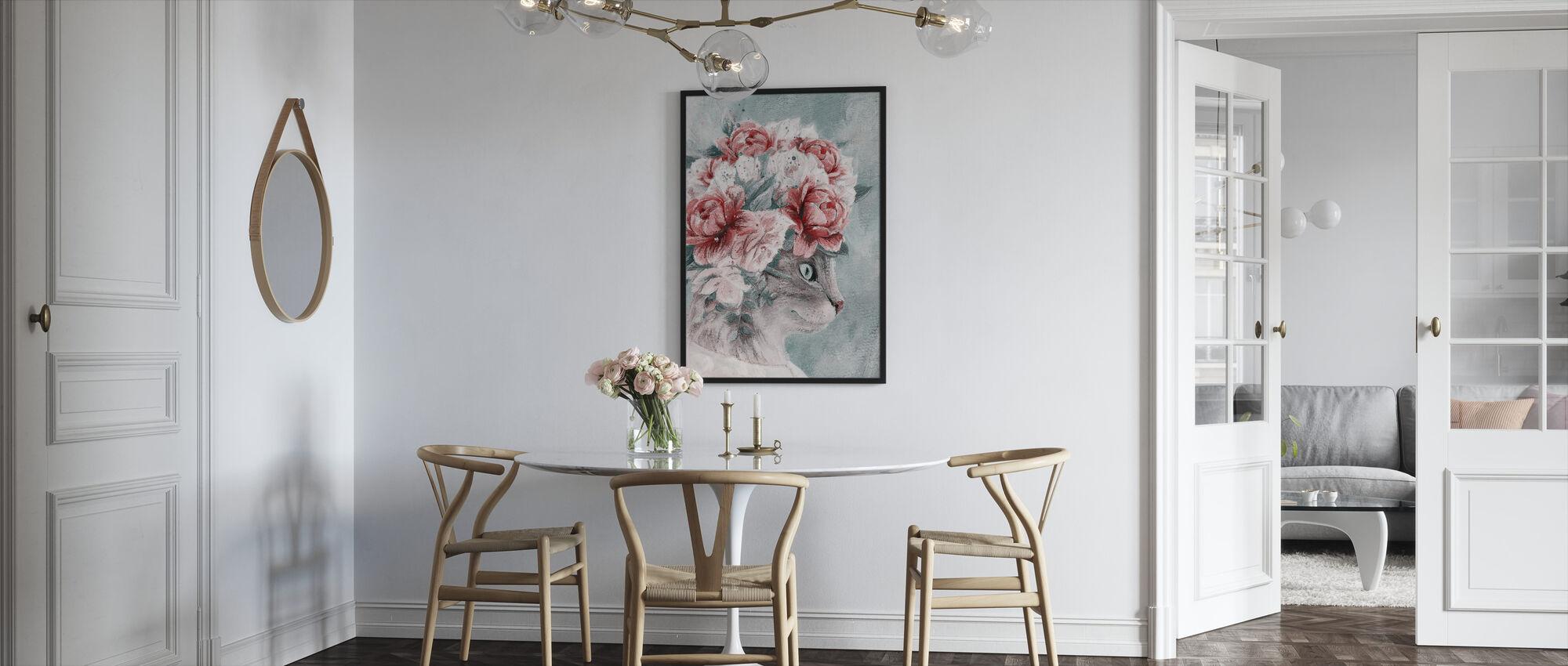 Bouquet Cat - Framed print - Kitchen
