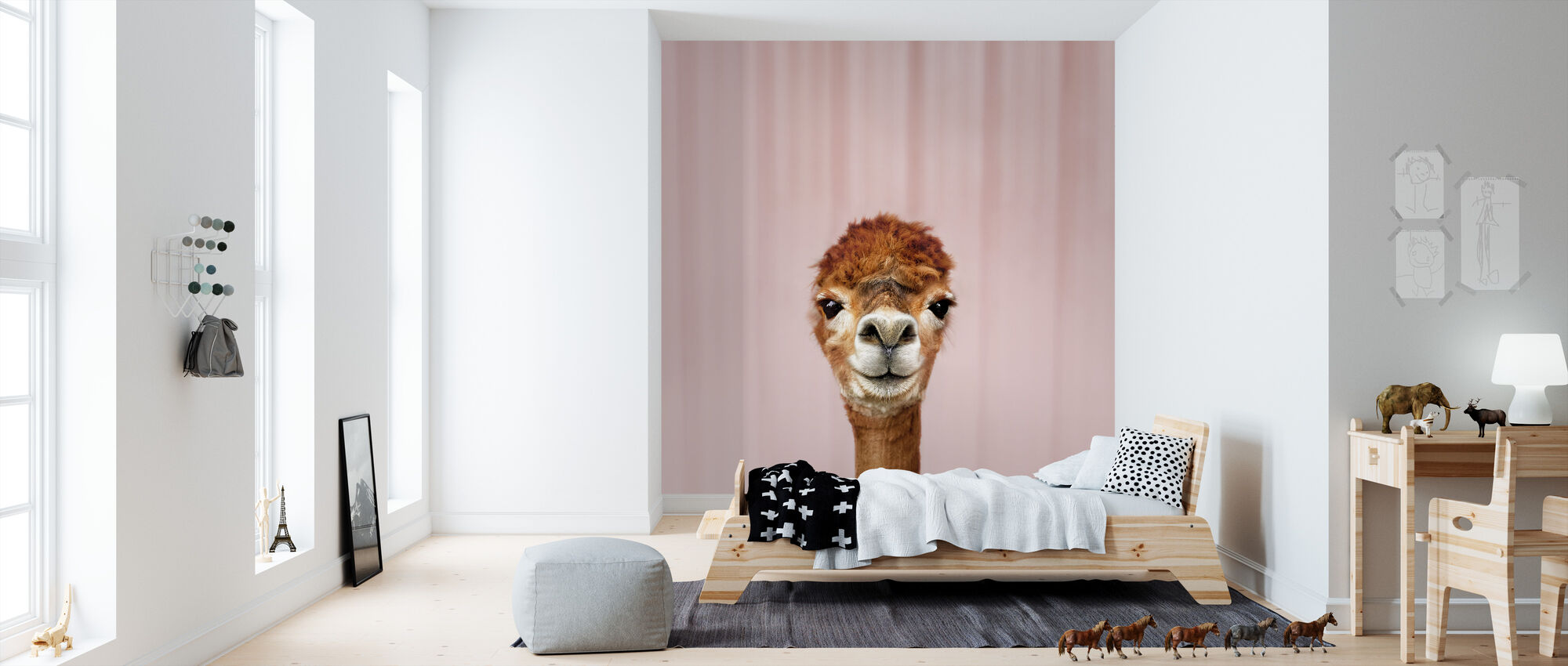Alpaca Portrait - Wallpaper - Kids Room