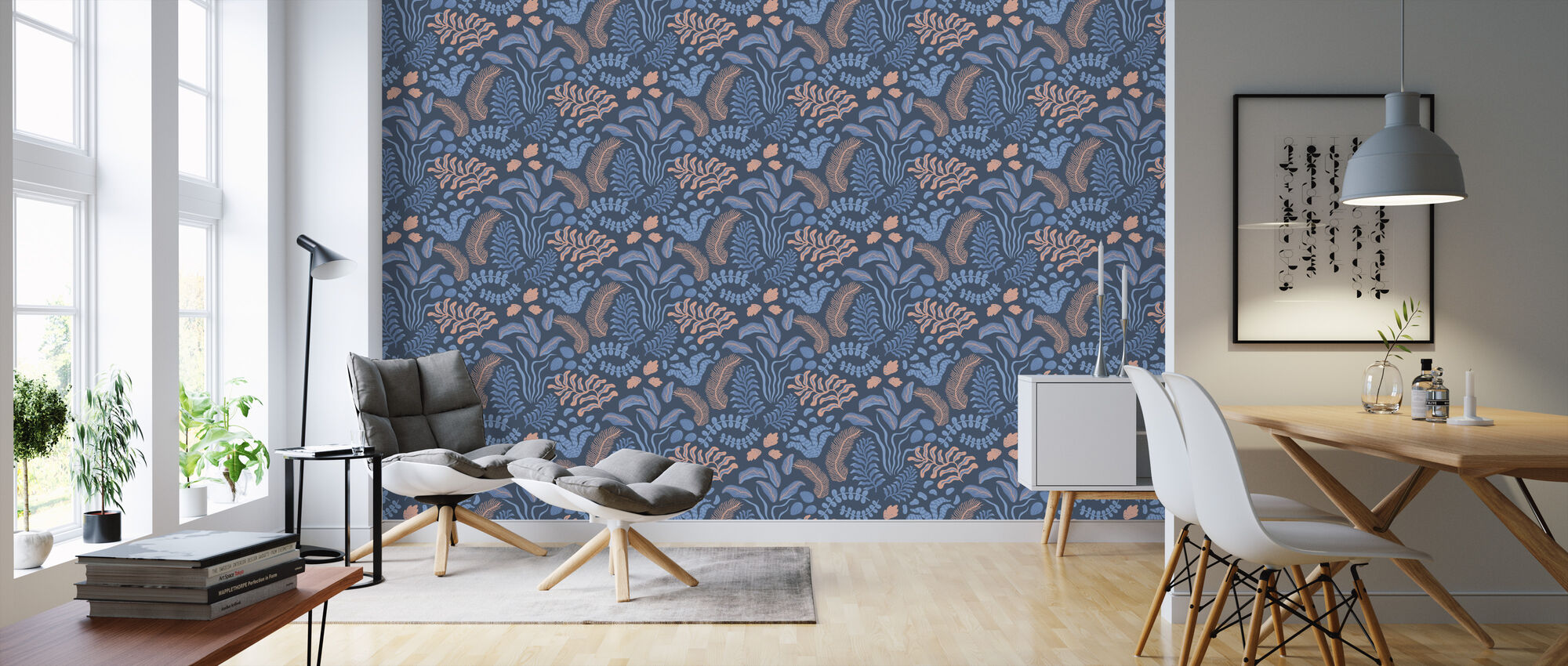 Sonja Pink and Blue - Wallpaper - Living Room