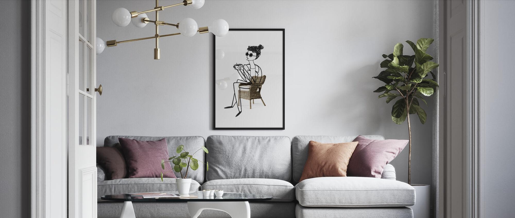 Woman Drinking Coffee - Framed print - Living Room