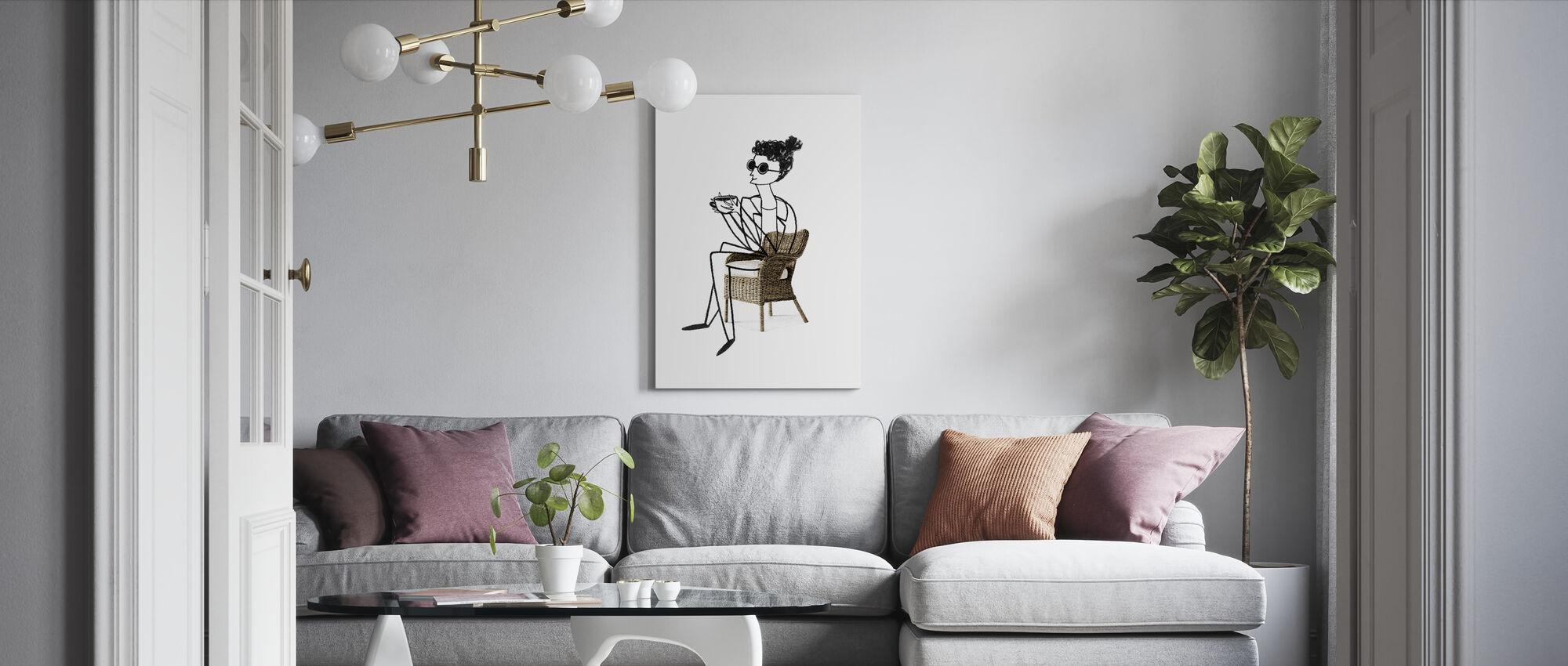 Woman Drinking Coffee - Canvas print - Living Room